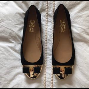 Ferragamo flats with gold cap toe